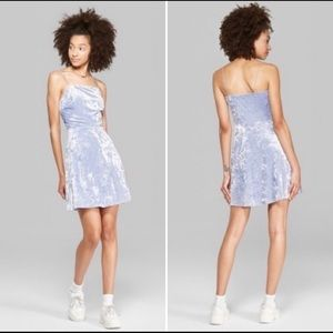 Sky Blue crushed velvet minidress